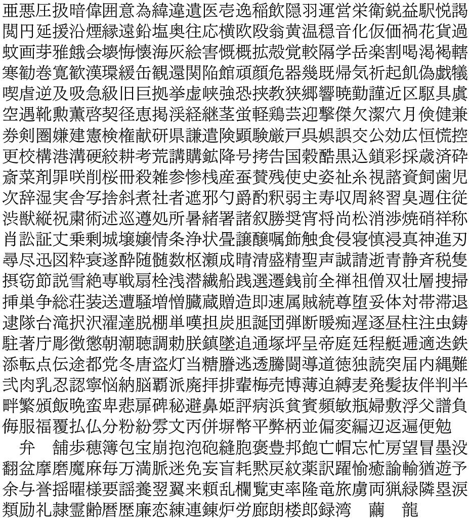 常用漢字を旧字体にする - なん...