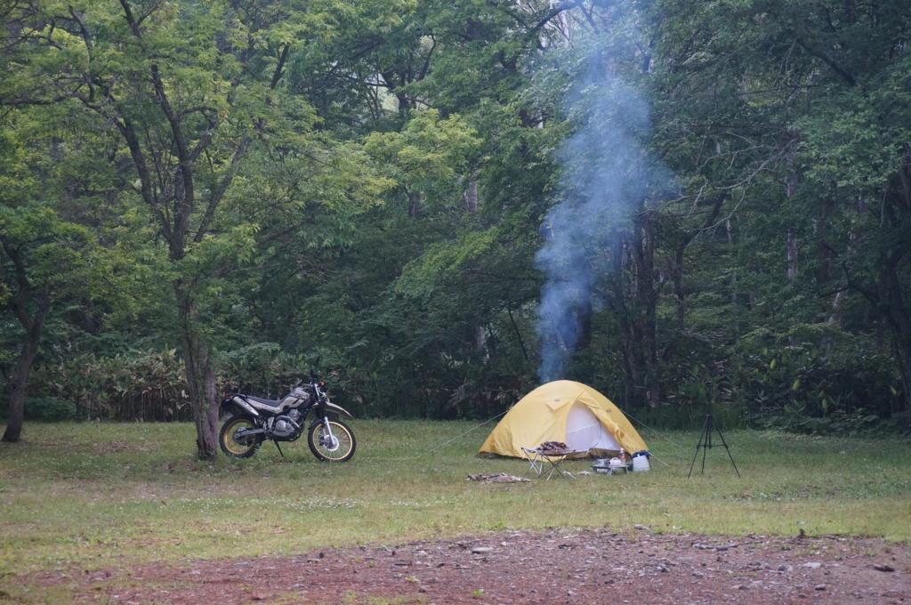 セロー250でキャンプ