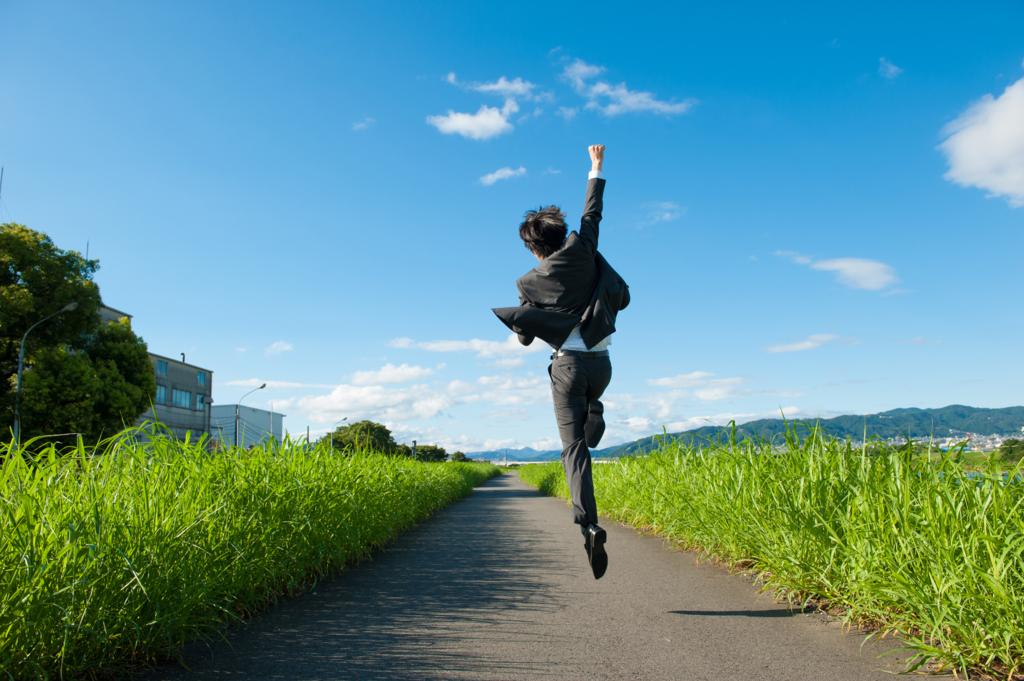 サラリーマンのジャンプ