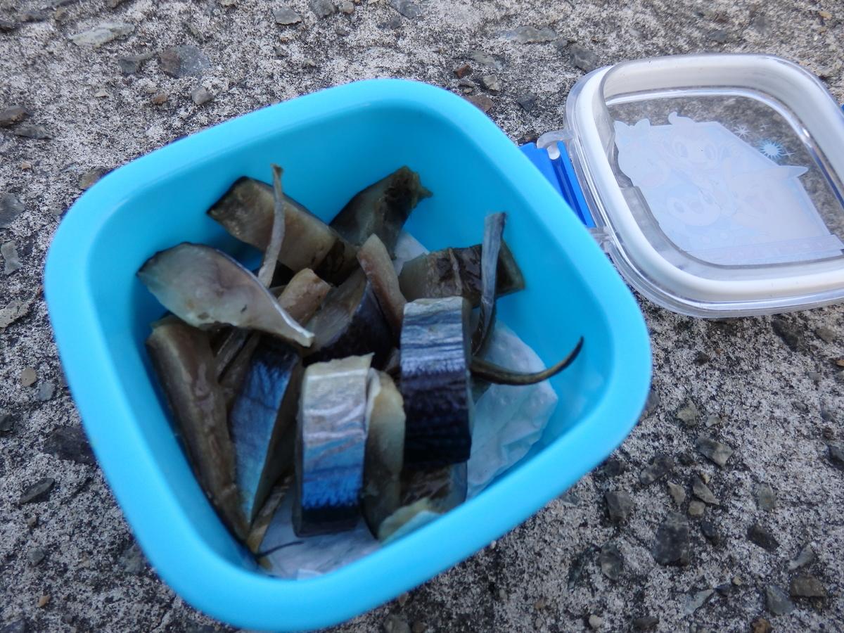 穴釣りのエサ。サンマの切り身