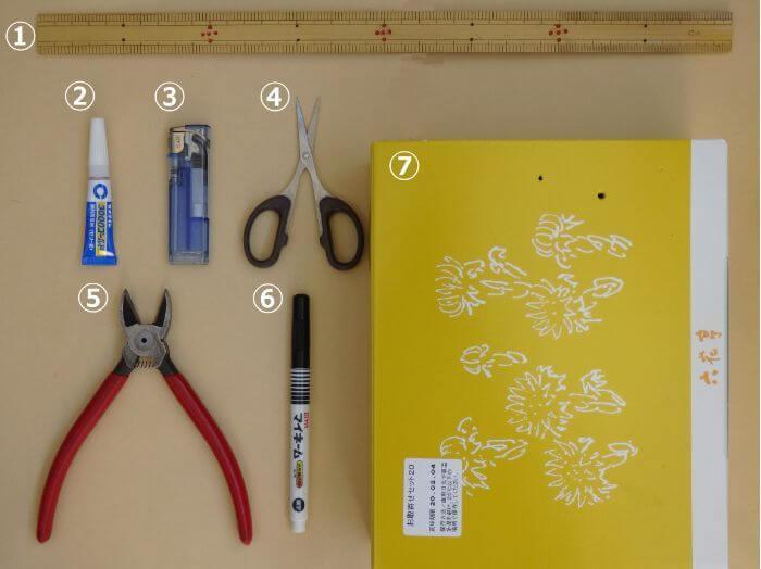 電気ウキを自作するために必要な道具の写真