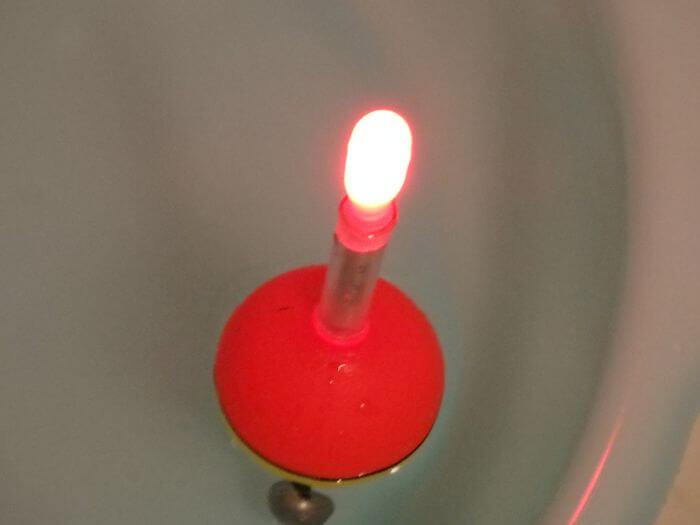 自作した電気ウキを水に浮かべた写真