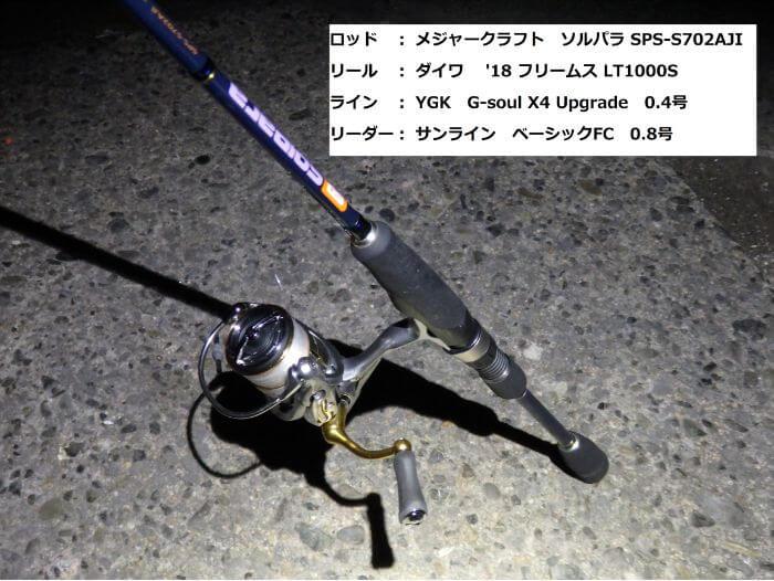 虫ヘッド釣法でメバルを釣るときに使うアジングタックルの写真
