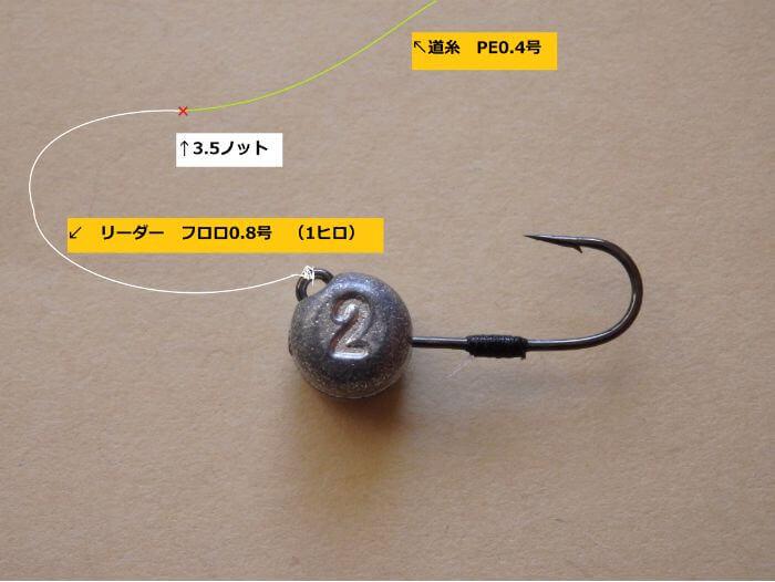 虫ヘッド釣法でメバルを狙うときの仕掛けの写真