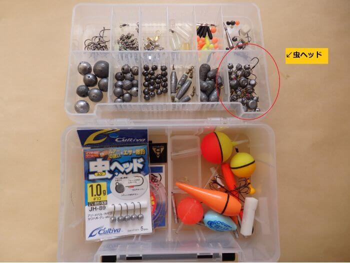 虫ヘッド釣法でメバルを狙うときに持って行くタックルボックスの写真