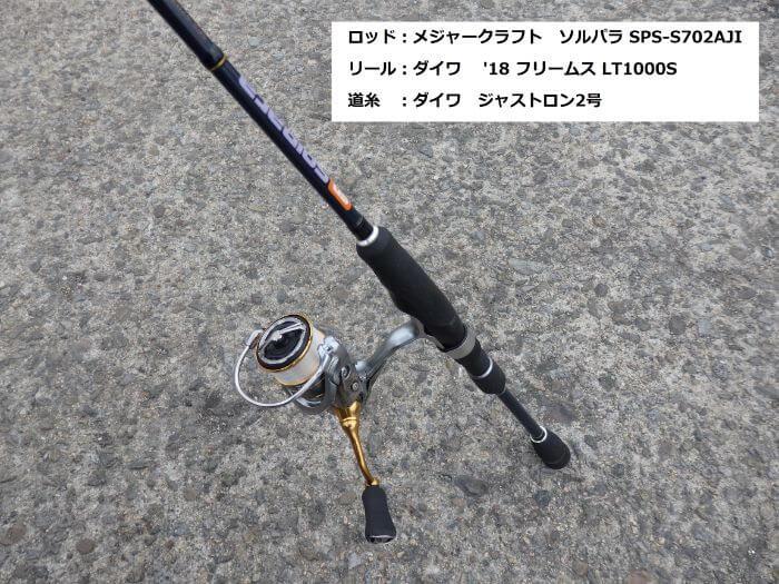 中アジ釣りで使うタックルの写真
