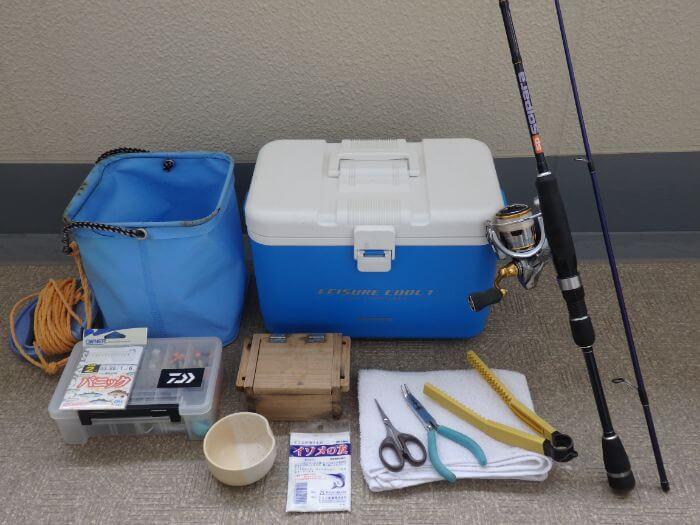 アブシン釣りに持って行く道具の写真