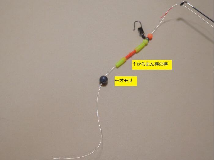 遊動式ウキ仕掛けを作るために、道糸にオモリを通した写真