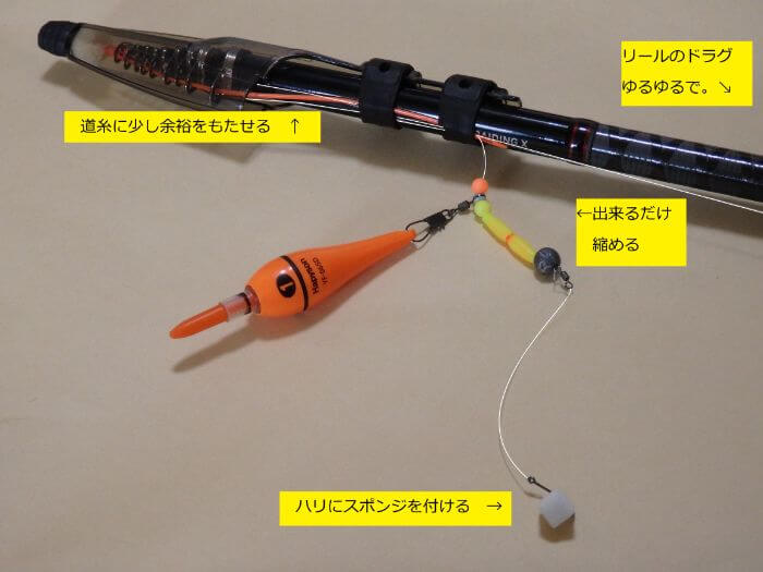 遊動式ウキ仕掛けを作った状態の竿の写真