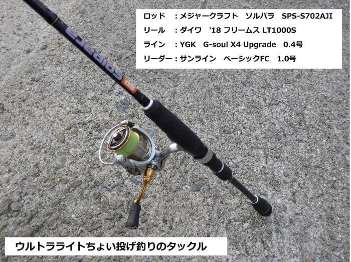 ウルトラライトちょい投げ釣りで使うウルトラライトタックルの写真