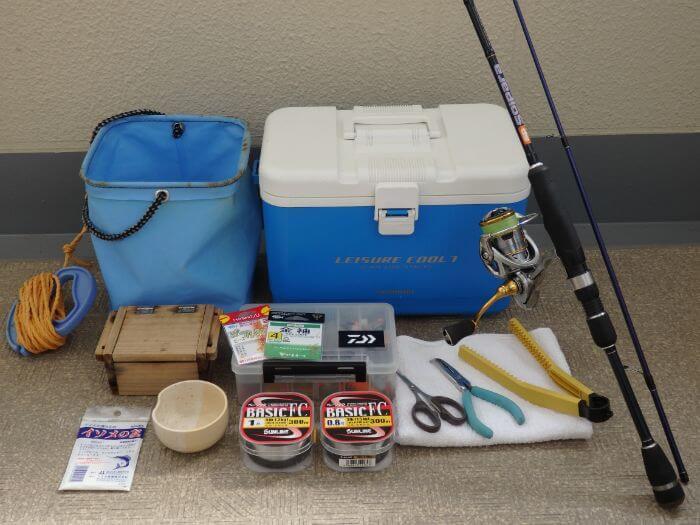 ウルトラライトちょい投げ釣りでキスを釣るときに持っていく道具の写真
