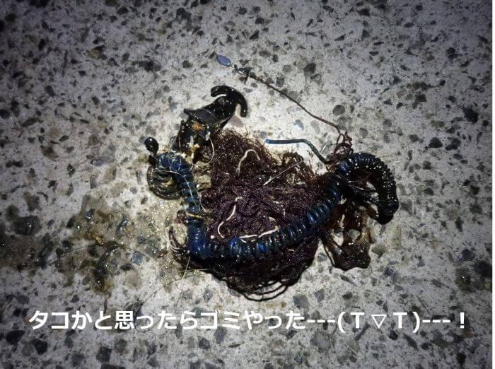 自作したオモックに引っ掛かったゴミの写真