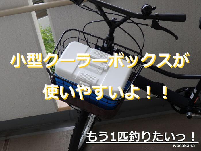 小型のクーラーボックス(シマノレジャークール7)を自転車のカゴに乗せている写真