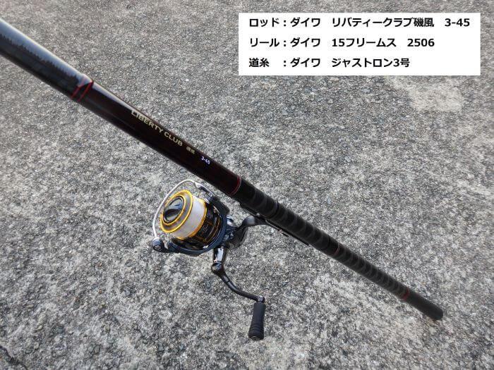サビキ釣りをするための竿とリールの写真
