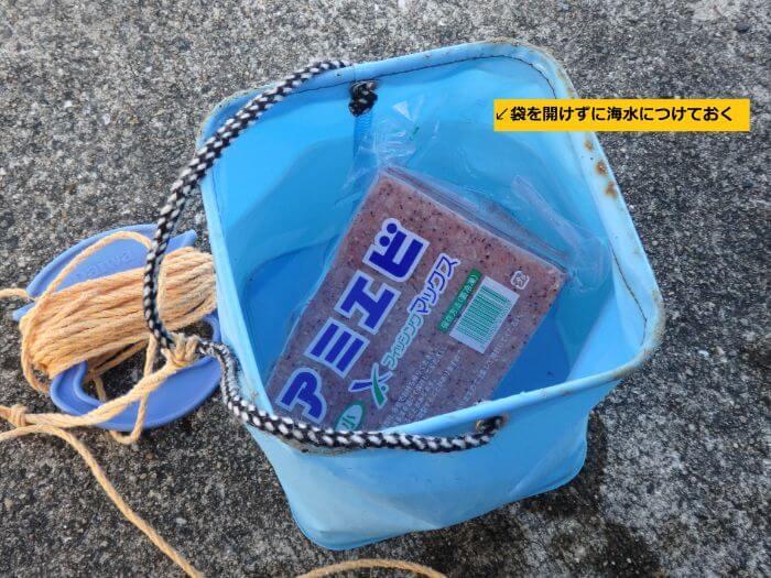エサのアミエビを溶かすために水汲みバケツにくんだ海水につけている写真