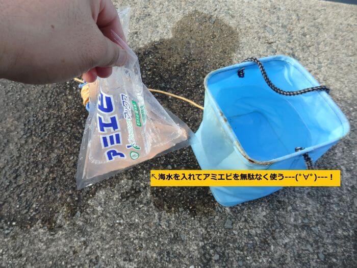 アミエビの袋に海水を入れてから吸い込みバケツに海水を入れている写真