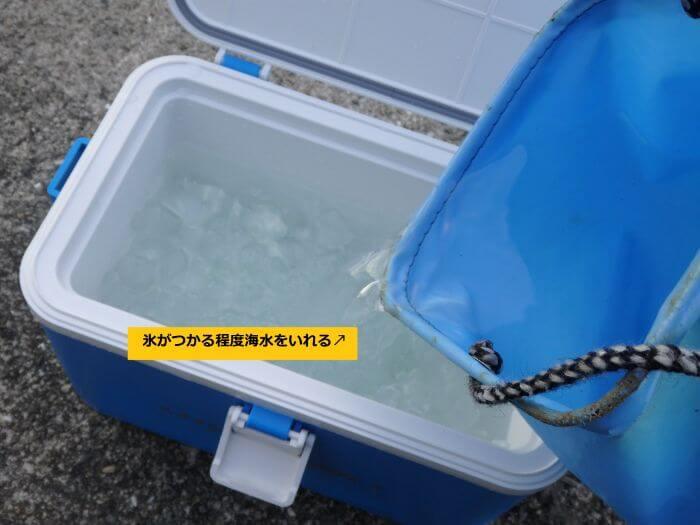 クーラーボックスに海水を入れて氷水を作っている写真