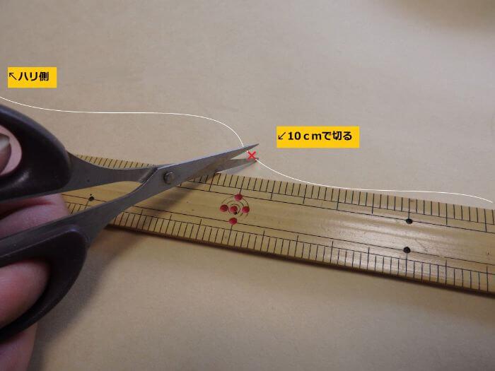 ハリスを10cmで切っている写真