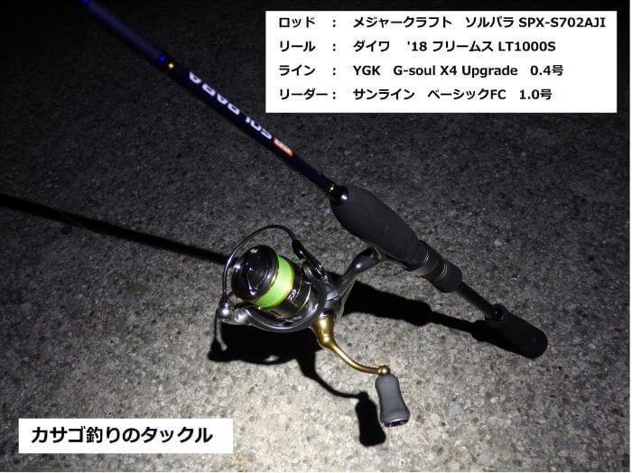 カサゴ釣りで使うライトタックルの写真