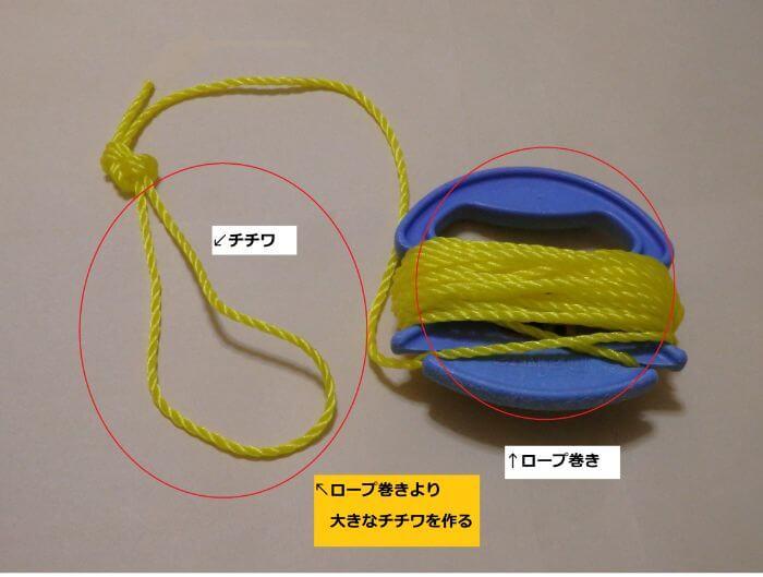 ロープ巻きが通るぐらいの大きさのチチワを作った写真