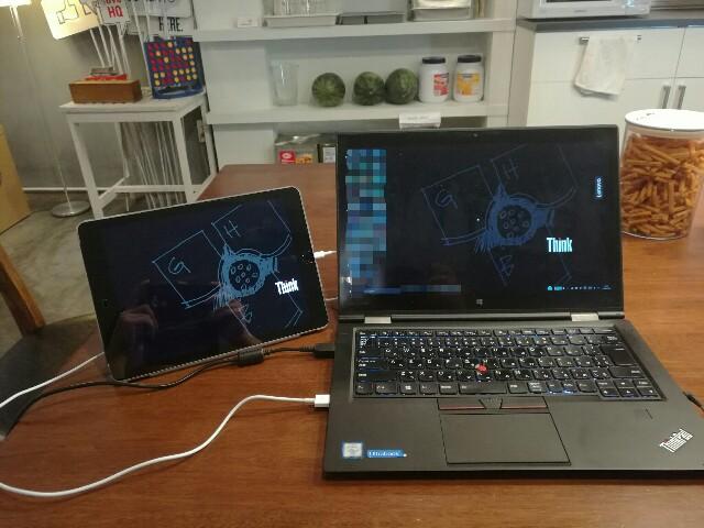 iPadとX1Ygaでデュアルディスプレイ