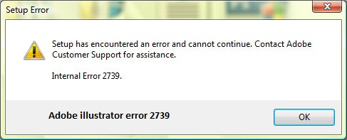 Adobe illustrator error 2739