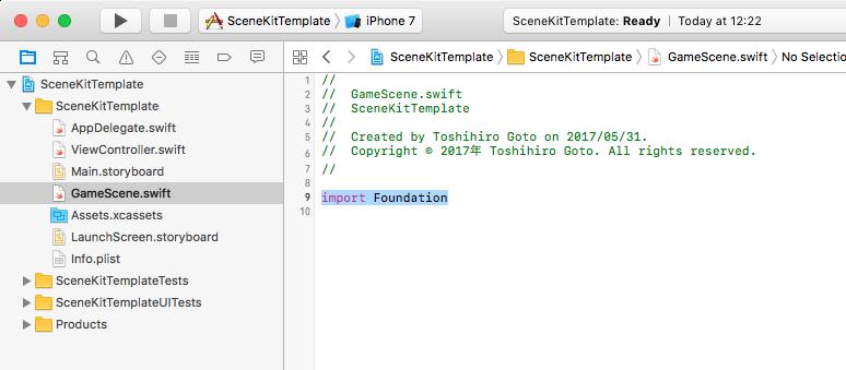 iOS で SceneKit を試す(Swift 3) その5 - シーンエディタを使用