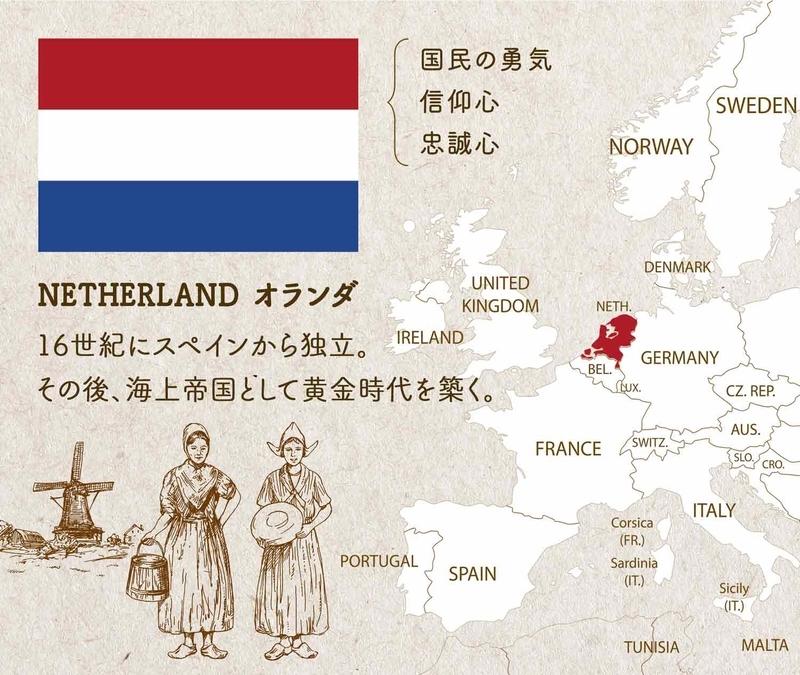 NETHERLAND オランダ/16世紀にスペインから独立。その後、海上帝国として黄金時代を築く。配色が表しているのは、国民の勇気、信仰心、忠誠心。