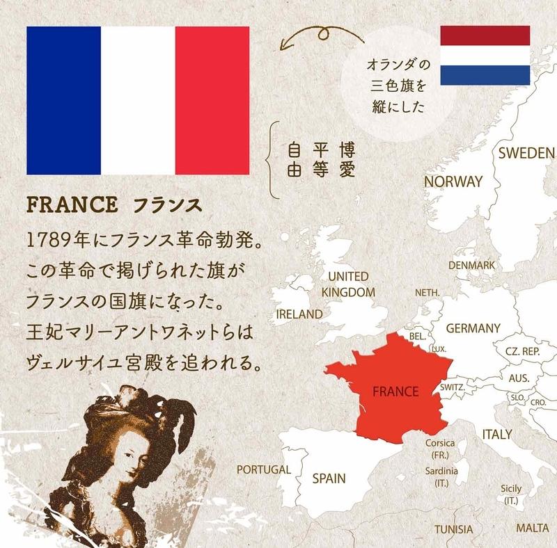FRANCE フランス/1789年にフランス革命勃発。この革命で掲げられた旗がフランスの国旗になった。王妃マリーアントワネットらはヴェルサイユ宮殿を追われる。オランダの三色旗を縦にした。配色は、博愛・平等・ 自由を表す。
