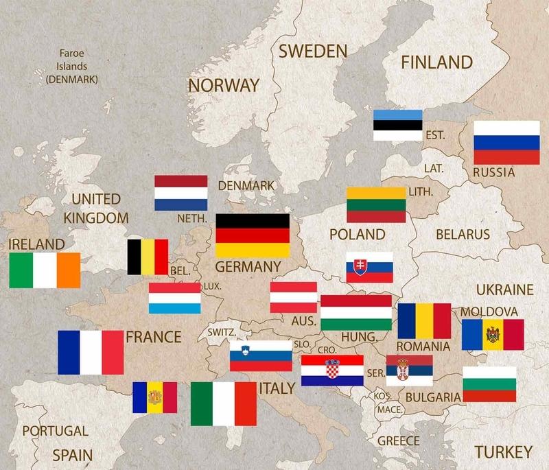 三色旗を採用しているヨーロッパの国々の国旗地図