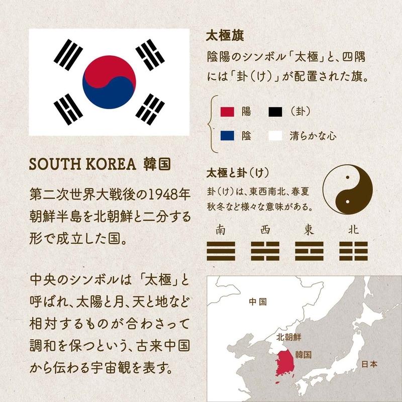 SOUTH KOREA  韓国/第二次世界大戦後の1948年、朝鮮半島を北朝鮮と二分する形で成立した国。中央のシンボルは「太極」と呼ばれ、太陽と月、天と地など相対するものが合わさって調和を保つという、古来中国から伝わる宇宙観を表す。太極旗/陰陽のシンボル「太極」と、四隅には「卦(け)」が配置された旗。太極と卦(け)/卦(け)は、東西南北、春夏秋冬など様々な意味がある。赤は陰陽の陽、青は陰陽の陰、白は清らかな心をあらわし、卦が用いられている。