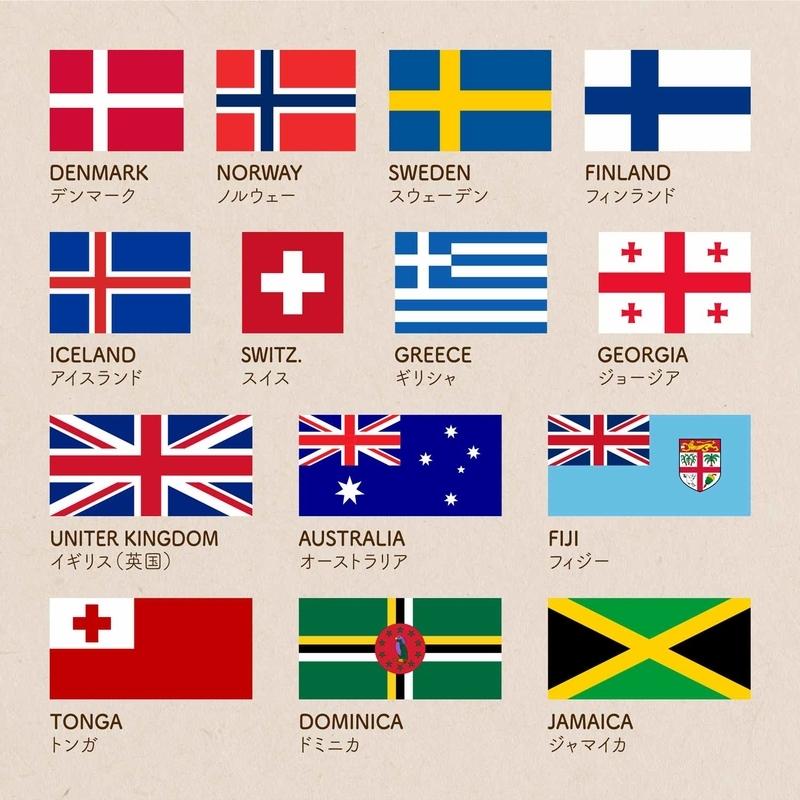 十字のシンボルが使われた国旗の画像:DENMARK デンマーク/NORWAY ノルウェー/SWEDEN スウェーデン/FINLAND フィンランド/ICELAND アイスランド/SWITZERLAND スイス/GREECE ギリシャ/GEORGIA ジョージア/AUSTRALIA オーストラリア/FIJI フィジー/TONGA トンガ/DOMINICA ドミニカ/JAMAICA ジャマイカ