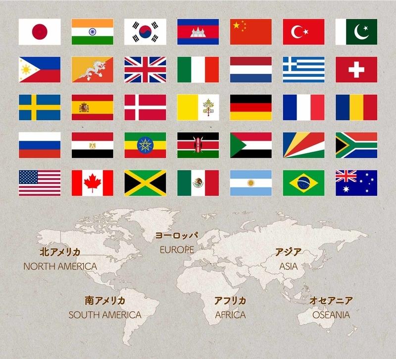 一部の国旗の画像と大陸の地図