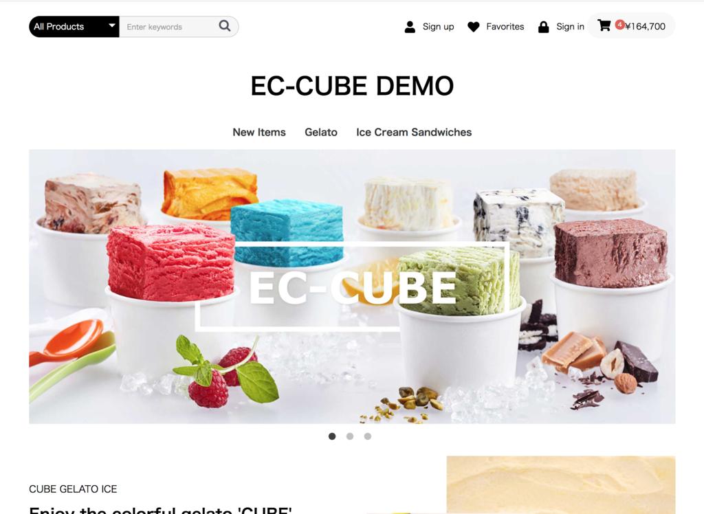 EC-CUBE4 英語版ショップトップ