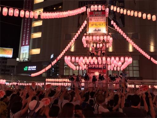 恵比寿盆踊り2016年、恵比寿駅が見えます