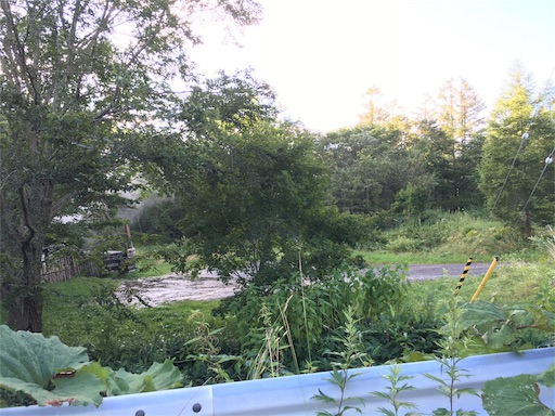 水たまりを超えて、橋の上左横にからまつの湯が見える!