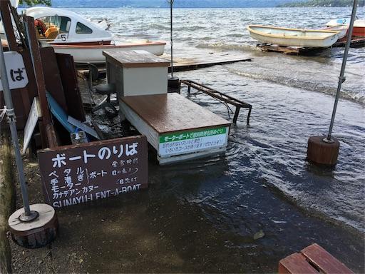 屈斜路湖の砂湯。ボート乗り場が水没中。