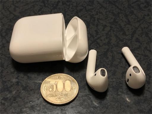 AirPodsのケースは小さいです。500円玉との比較