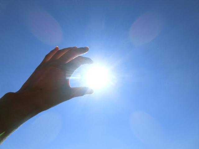 指の間をすり抜ける太陽の光の写真