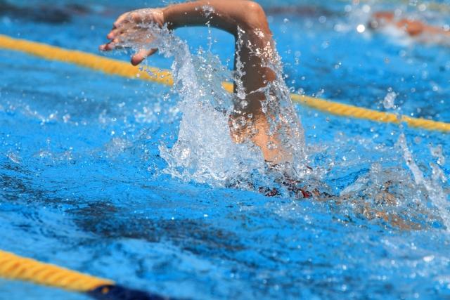 プールでクロール泳ぎをしている男性の写真