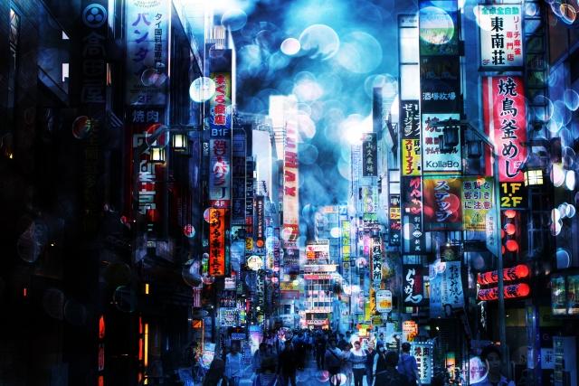 歌舞伎町のぼやけた写真