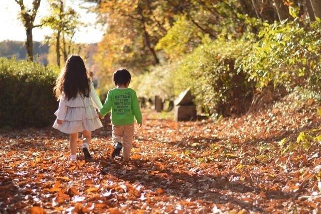 手をつないで歩く子供の写真