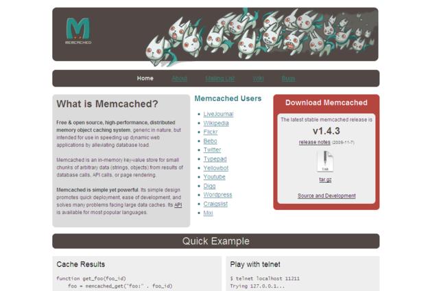 memcachedの公式サイトに珍獣が。