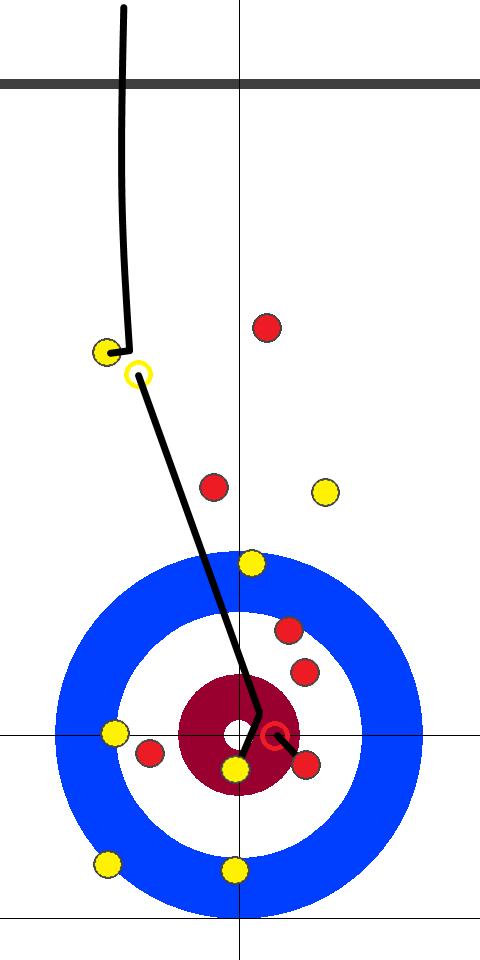 アメリカ(赤)-日本(黄) 10エンド 後攻日本フォース青木2投目