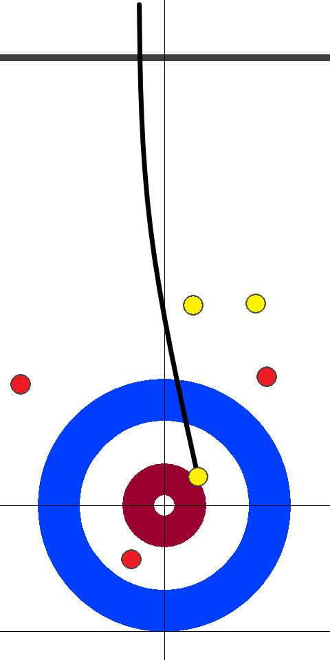 ドイツ(赤)-日本(黄) 10エンド 後攻日本スキップ小穴1投目