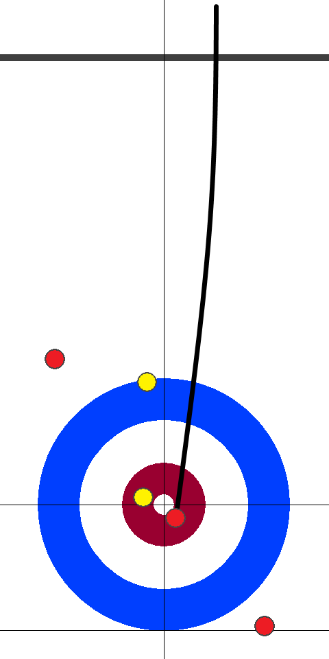 日本(赤)-アメリカ(黄) 10エンド 後攻日本スキップ小穴2投目