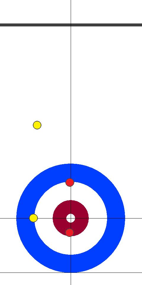 日本(赤)-アメリカ(黄) 9エンド 先攻日本サード小野寺2投目前
