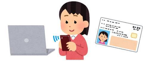 PCとスマホで確定申告する人のイラスト