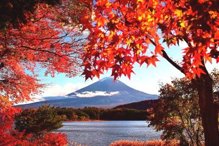 紅葉の河口湖と富士山