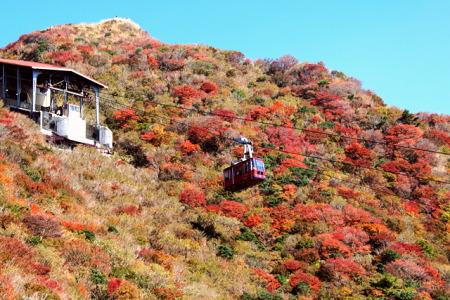 紅葉の雲仙ロープウェイ